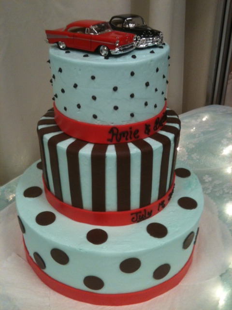 1950 Theme Cake http://foleyscakes.com/photos/50s-theme-wedding-cake/